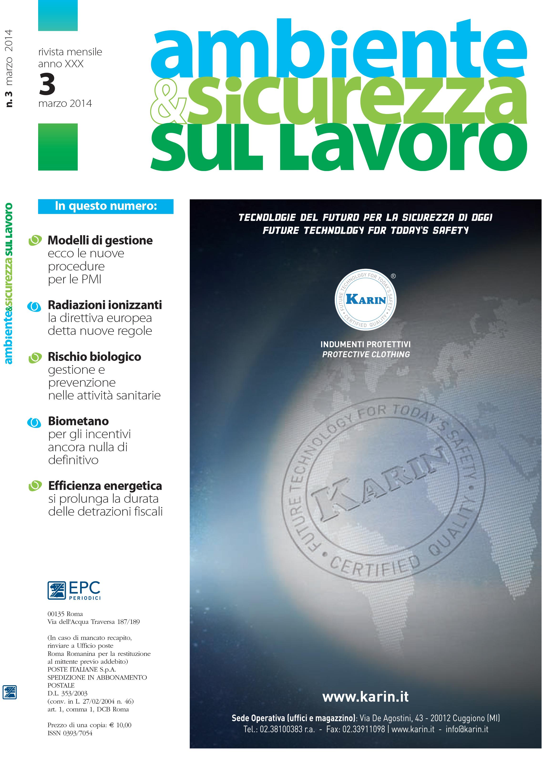 Copertina Marzo 2014 - Ambiente & Sicurezza sul Lavoro